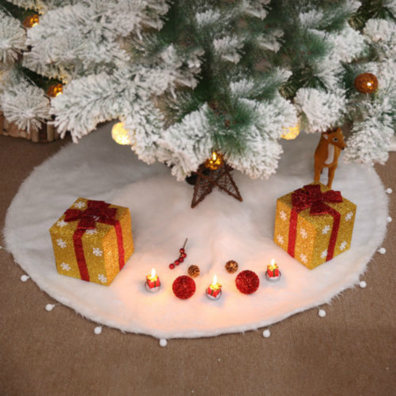 White Christmas Tree Skirt Stands Ornaments Xmas Party Decor New Year Xmas Tree Carpet Xmas Decorations for Home Outdoor Decor