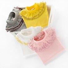 Enfants Basant T-Shirt 2017 Printemps Enfants Vêtements De Mode Étudiant Filles Dentelle Tops Coton à manches longues De Base T-shirt