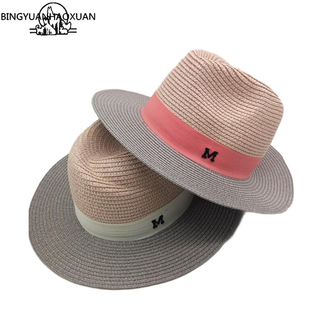cb9751ac3 US $7.31 31% OFF BINGYUANHAOXUAN 2017 Sale Hot Summer Sun hats for Women M  letter Wide ladies Straw Hat Beach Vacation Girls Panama hat-in Sun Hats ...