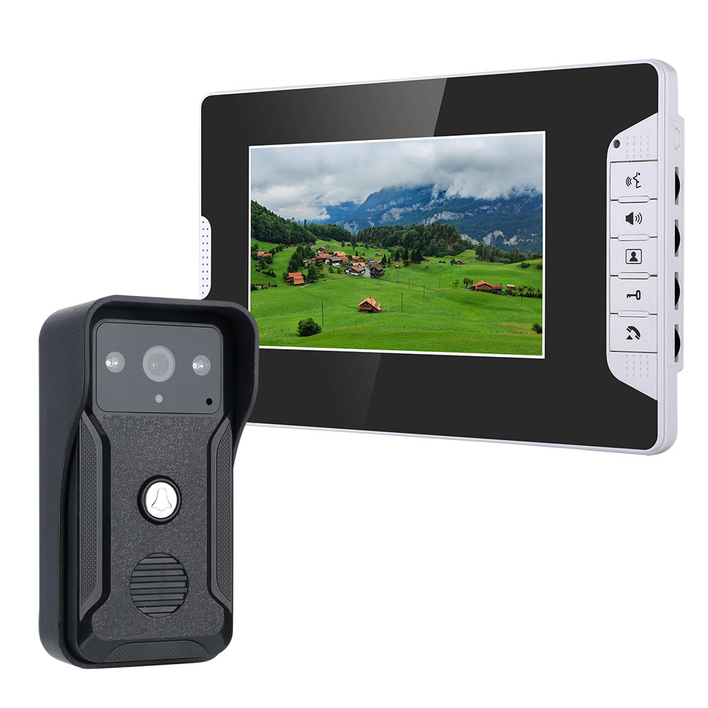 MOUNTAINONE 7 Inch Wired Video Door Phone Doorbell Intercom Kit With Rainproof 700TV Lines Night Vision Camera