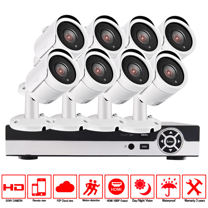 CCTV Security Camera System 8ch CCTV System 8 x 720P CCTV Camera Surveillance System Kit Camaras Seguridad Home 2TB HDD