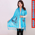 Blue Chinese Female Velvet Silk Beaded Shawls Vintage Handmade Embroidery Scarves Scarf Long Fringe Muffler Butterfly Pattern