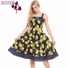 Acevog Для женщин Винтаж 1960 S летнее платье Спагетти ремень лимон Кубок Dot Цветочный принт feminino качели Vestidos Платья для вечеринок Mujer