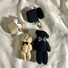 Cute Cartoon Plush Bear Doll keychain Earphone Case For Apple Airpods Headset Box Accessories Silicone Cover