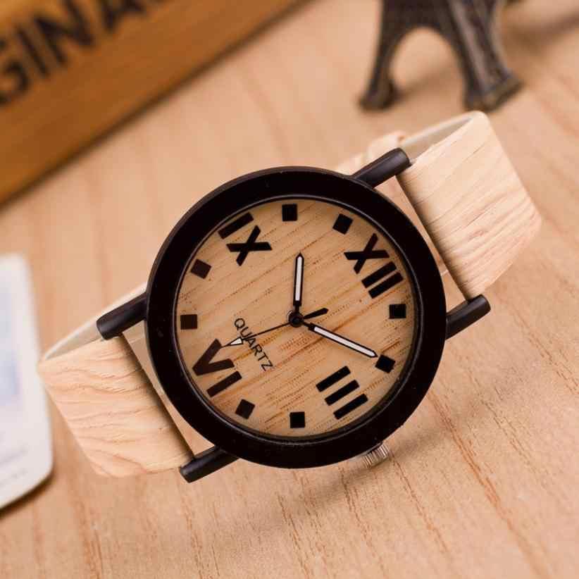 2017 vente chaude femmes hommes montres unisexe horloge chiffres romains bois cuir bande analogique Quartz Vogue montre-bracelet créative Oct30