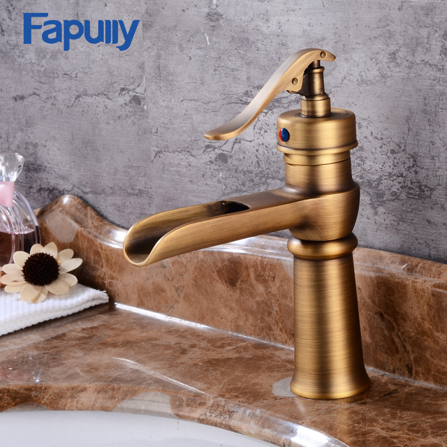 Fapully Bathroom Sink Waterfall Faucets Antique Copper Basin Faucet Bathroom  Vanity Sink Mixer Tap