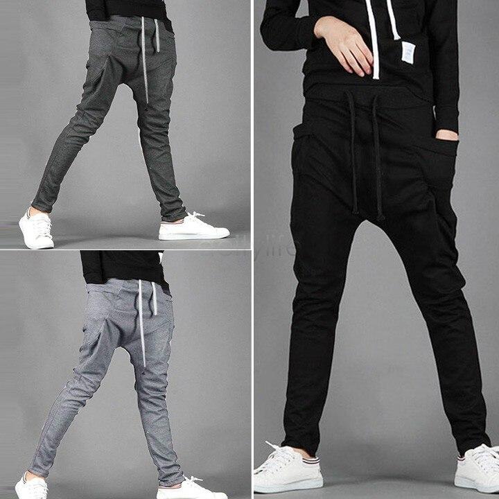 38ff6cbf71 2018 verano Streetwear Harem pantalones cordón elástico cintura Hip Hop  pantalones hombres Joggers pies colgando entrepierna en Pantalones harén de  La ropa ...
