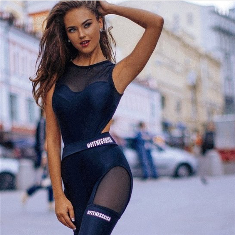 black track suit catsuit mesh jumpsuit one piece activewear fitness dancing yoga sport legging workout pants jegging jogging one piece suits (2)