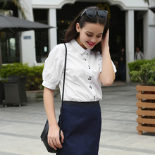 Veri Gude Summer Style Women Puff Sleeve Blouse White Shirt Short Sleeve  Turn-Down Collar Shirt  Cotton Tops Women Blouse