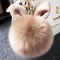 Bola de Pelo de Conejo perezoso de la Torre Colgante de piel de Moda Clave Llavero Llave Del Coche de anillo Adecuado para Fletado Estante Colgante El Mejor Regalo