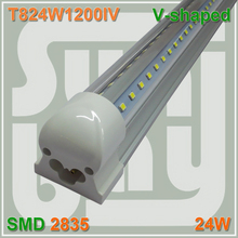 Free shipping V-shaped T8 Integrated Tube bulb lights Cooler Door 4FT 24W 85-277v Double Line SMD2835 with accessory 270 angle