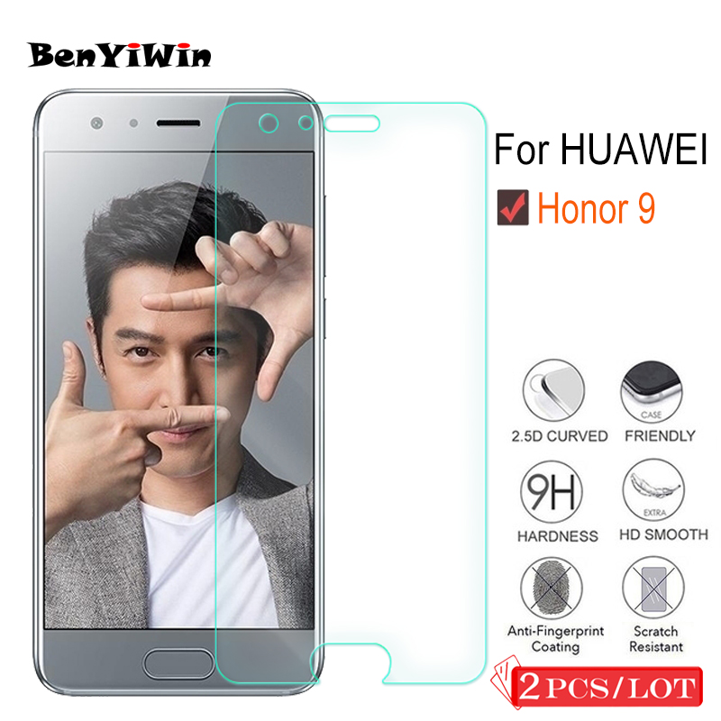 2 Pcs 9H Premium Tempered Glass For Huawei Honor 9 Display Protector Toughened Protecting Movie Case For Huawei Honor9 Cowl Telephone