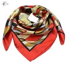 90*90 CM Women's Silk Square Scarf Luxury Ladies Bandana Shawl Print Satin Scarves For Female Soft Cozy Lady kerchief Hijab