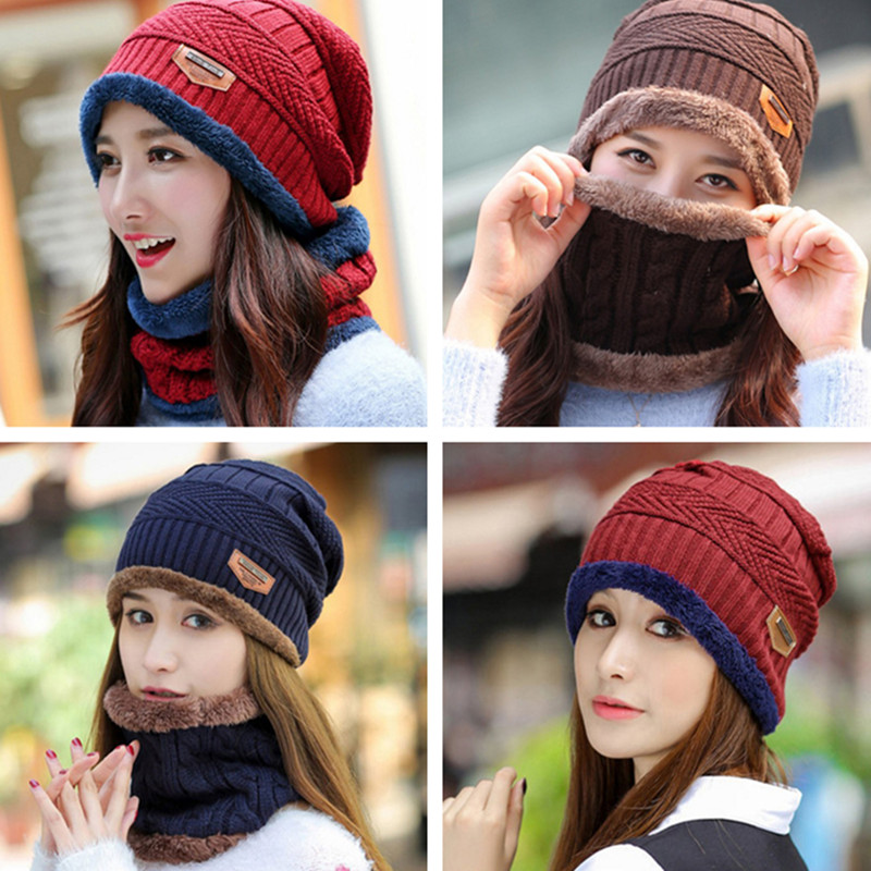 Winter Warm Knit Baggy Beanie Hat Ski Cap Scarf Set Men Women Hat Neckerchief Beanie