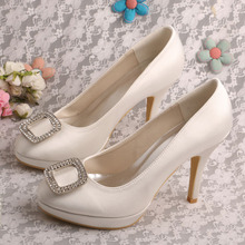 Wedopus Пользовательские Ручной Rhinestone женские Высокие Каблуки Насосы Ivory White Red Партия Свадьба Свадебная Обувь Челнока