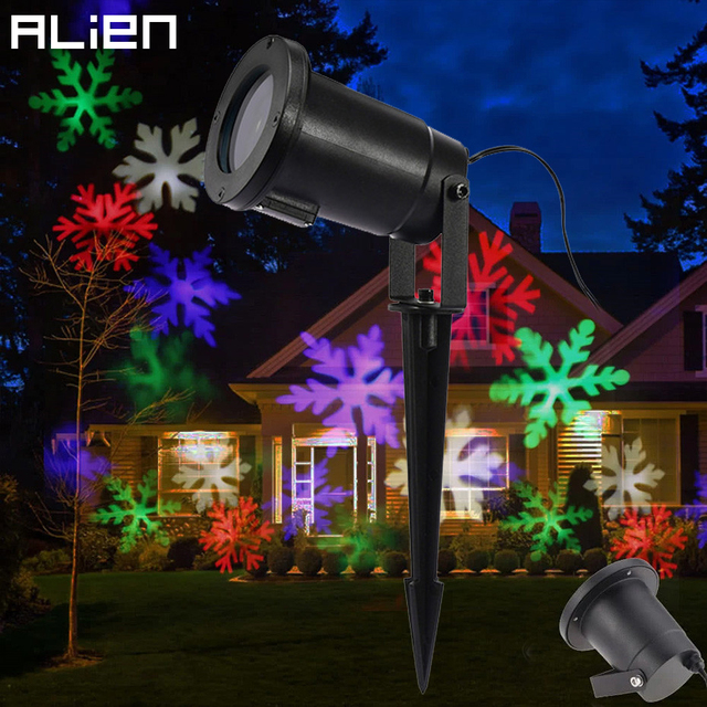alien led rgb sneeuwvlok projector kleurrijke kerstverlichting buiten waterdicht vakantie party kerstboom tuin show verlichting