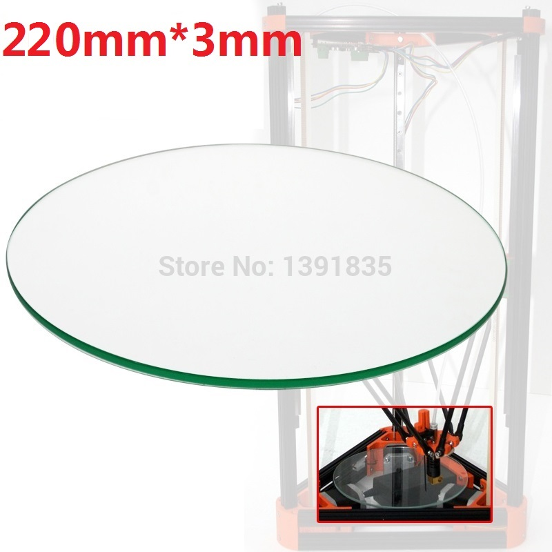 3mm thick Diameter 220mm ROUND 3d printer accessory for Rostock delta KOSSEL mini 3d printer Borosilicate Glass plate 3 d printer accessory part rostock kossel mini 3d printer traxxas 1 10 e revo summit 5347 arms makes parallel arm free shipping