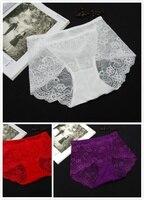 Traspirante Sexy 3 pz/set Multicolore A Vita Alta In Pizzo Donna Intimo Formato Libero e XL (Bianco Rosso Viola Scuro)