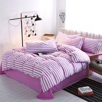 4 Pcs Set Cotton Stripes Bedding Set Bedspread Duvet Cover Bed Sheet