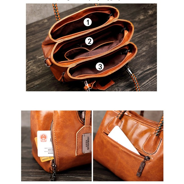 Luxury Brand 100% Genuine Leather Women's Messenger Bags Ladies Handbags High Quality Designer Shoulder Tote Bag For Female 1