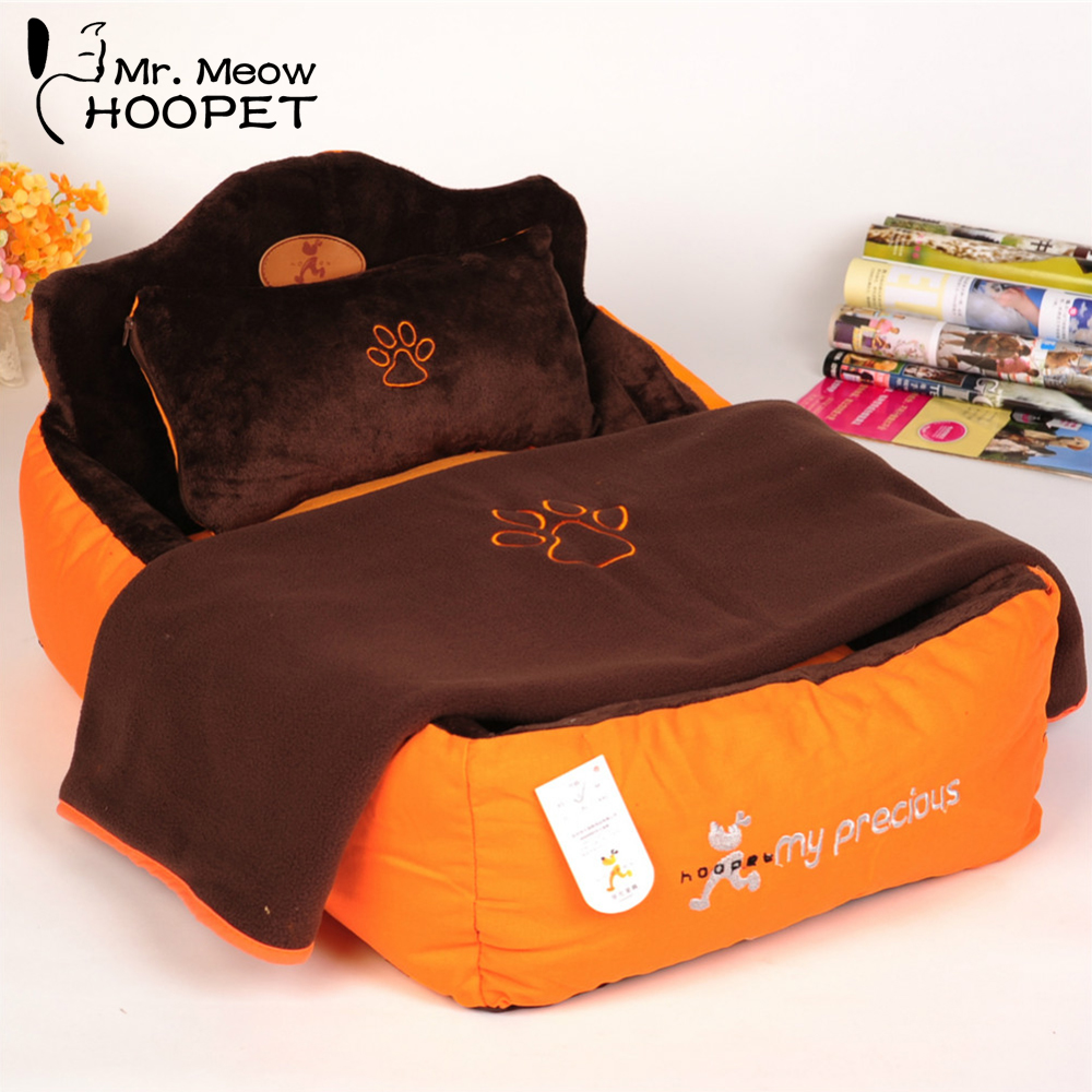 Hoopet Luxury Pet Bed With Pillow Blanket Dog Bed Cat Mat Sofa Warm Dog House Nest