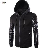 2016 Autumn Men S Hooded Jacket With Leather Sleeves Motorcycle Faux Leather Slim Fit Hoodie Jacket