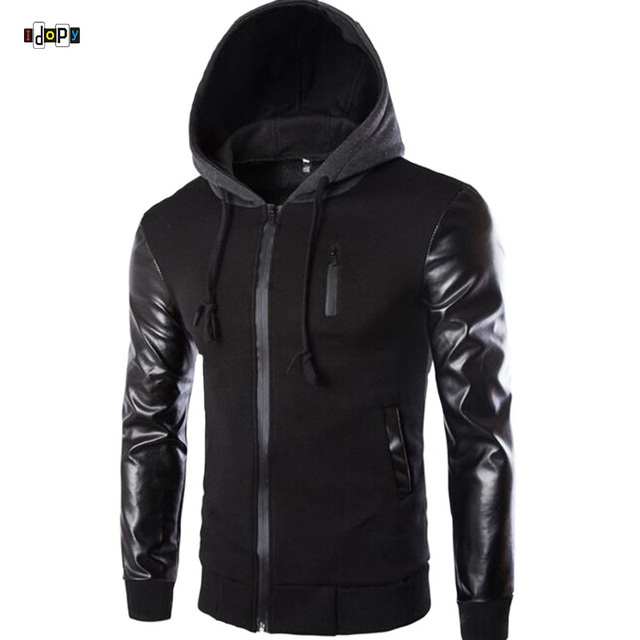 2018 Autumn Men`s Hooded Jacket With Leather Sleeves Motorcycle Faux Leather Slim Fit Hoodie Jacket With Hood