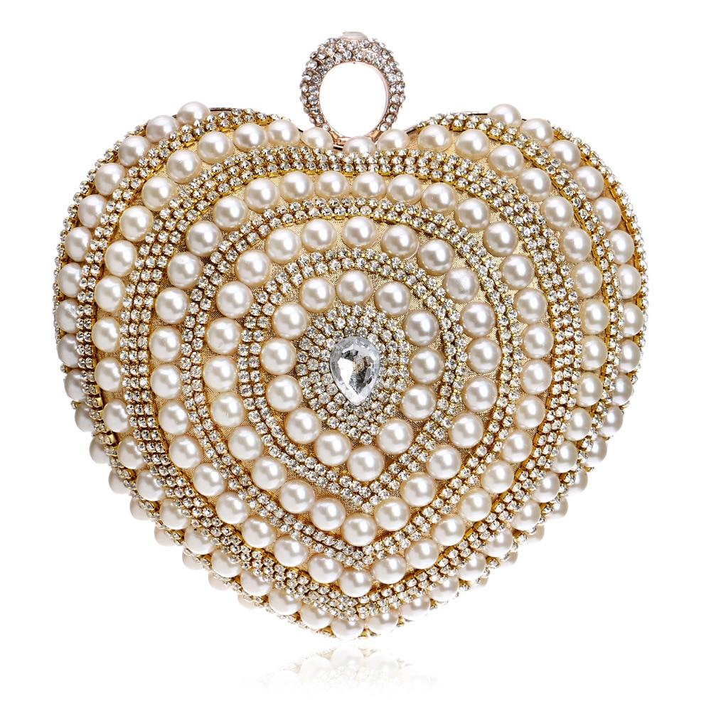 Luxury Heart Shaped Finger Ring Handbag Diamonds Purse Clutch Chain Shoulder Pearl Women Messenger Beaded Weeding Banquet Bag