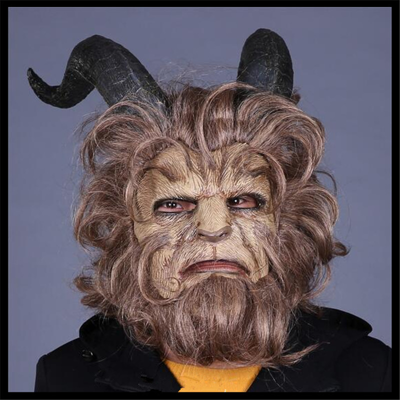 2017 Hot Movie Beauty and the Beast Adam Prince Mask Cosplay Horror Mask Latex Lion Helmet Halloween Party Cosplay Scary Animal