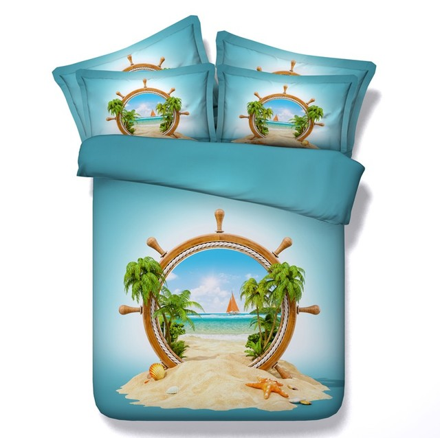 Beach Bedding sets 3D bed cover quilt duvet covers set bed in a bag sheet linen California King queen full size twin double 4PCS