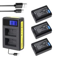 3Pcs/lot NP FW50 NP FW50 Battery +LCD USB Dual Charger for Sony A6000 5100 a3000 a35 A55 a7s II alpha 55 alpha 7 A72 A7R Nex7 NE