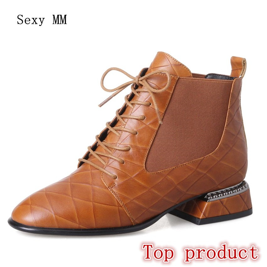 Genuine Leather Women Low High Heel Ankle Boots Spring Autumn Shoes Woman Short Boots High Quality Plus Size 33 - 40 41 42 43