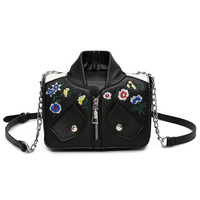 YEJIA FASHION Embroidery Vintage Women Bag PU Motorcycle Jacket Shape Women Messenger Bags Chain Strap Female