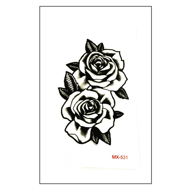 New arrive waterproof temporary tattoo sticker 10 56 cm cute black rose tattoo water transfer