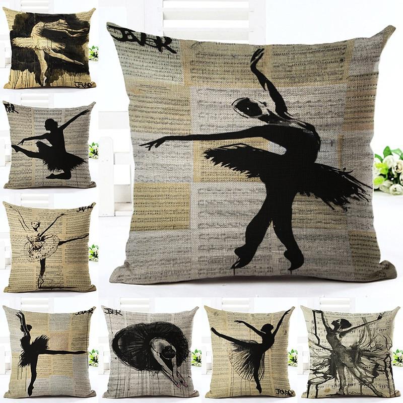 Retro Ballerina Girl Pillow Case Cushion Cover Square Pillowcase For Sofa Office Car Home Decor F