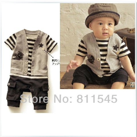 Cute Gray One Piece Baby Rompers And Jumpsuit For Boy Body