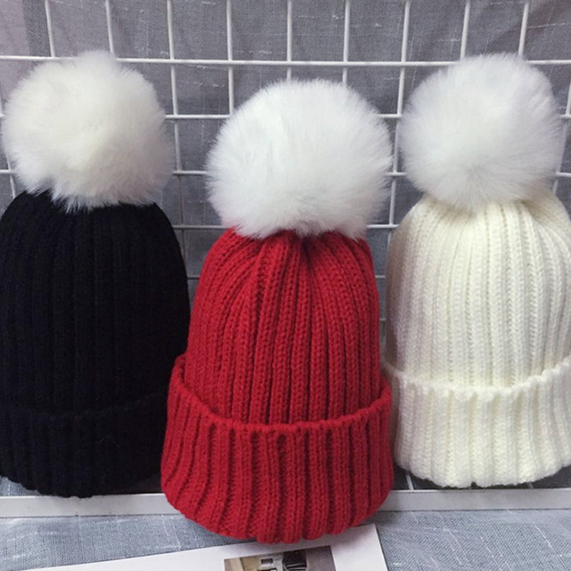 Baby Boys Girls Kids Cotton Knitted Beanies Cap With Faux Fur Pompom Soft Winter Warm Hats BM88