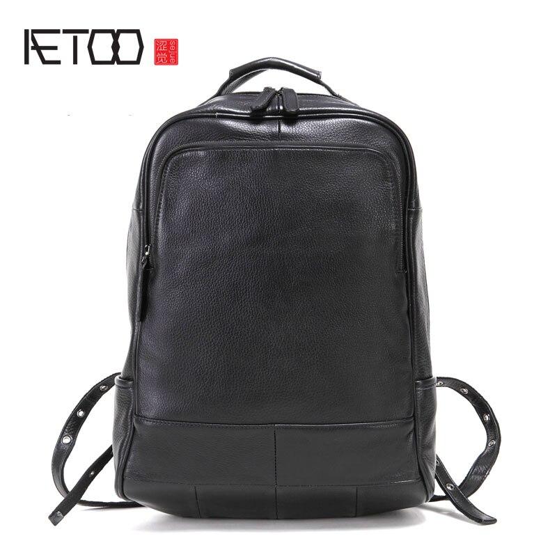 Bagaj ve Çantalar'ten Sırt Çantaları'de AETOO deri erkek omuzdan askili çanta kafa katman deri sırt çantası moda trendi çantası iş bilgisayar çantası'da  Grup 1