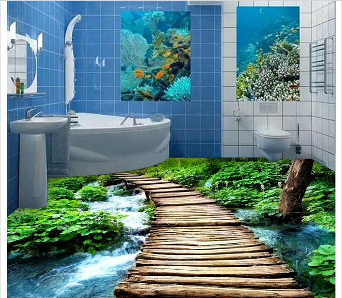3D custom mural pvc waterproof wallpaper Small bridge flowing water 3 d mural ceramic tile floor bathroom floor painting free shipping 3d park small river floor painting living room kitchen hallway non slip floor wallpaper mural