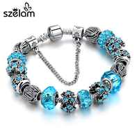 Pulsera de cuentas de cristal azul para Mujer, Pulseras de plata con dijes para Mujer, jerseys para Mujer, SBR160158