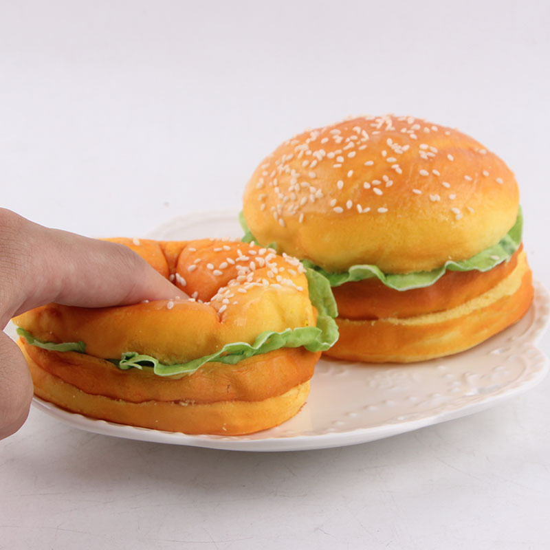 2PCS NEW 9CM Cute Squishy Yummy Hamburger Make Up Mirror Simulation Food Model Decoration Kitchen PretendToys enlarge