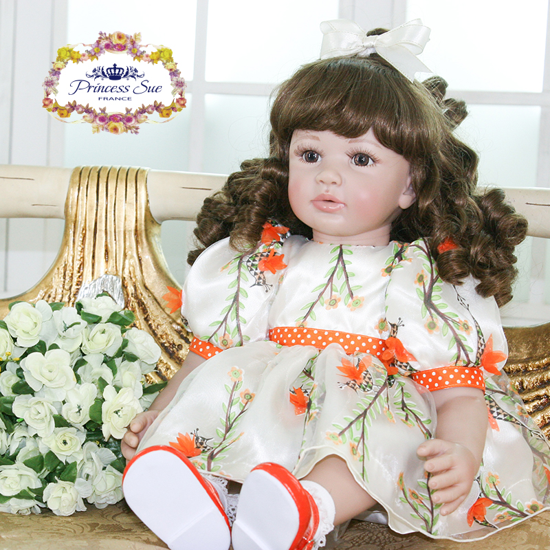 Pursue 24/60cm Silicone Reborn Babies Curly Hair Brown Eyes Cotton Body With Matching Dress Likelife Real Girl Birthday Gifts цена
