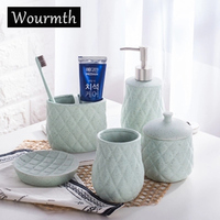 Wourmth Simple Dumb Color Ceramic Bathroom Accessories Set of Five sets Liquid bottle cotton swab box toothbrush cup Wash sets