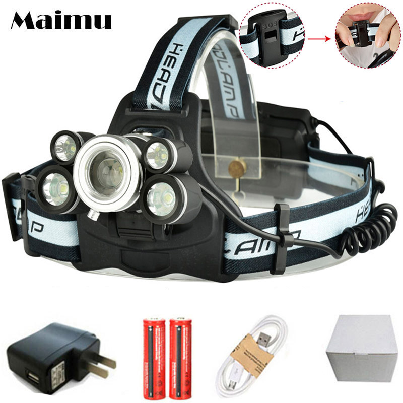 Maimu 15000LM LED Headlamp 3T6+2XPE USB Rechargeable 18650 Headlight Lamp Zoom Head Flashlight fishing Lights D20