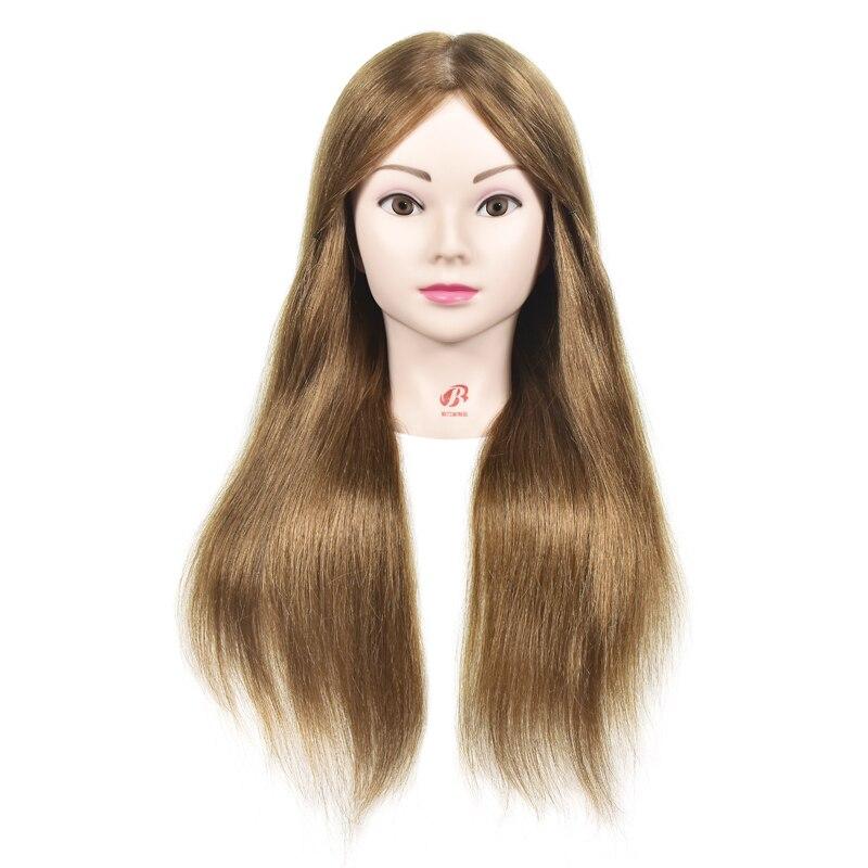 55 cm Réel de Cheveux Humains tête De la Formation poupées pour coiffeurs Mannequin Poupées brun couleur professionnel styling perruque tête avec des cheveux