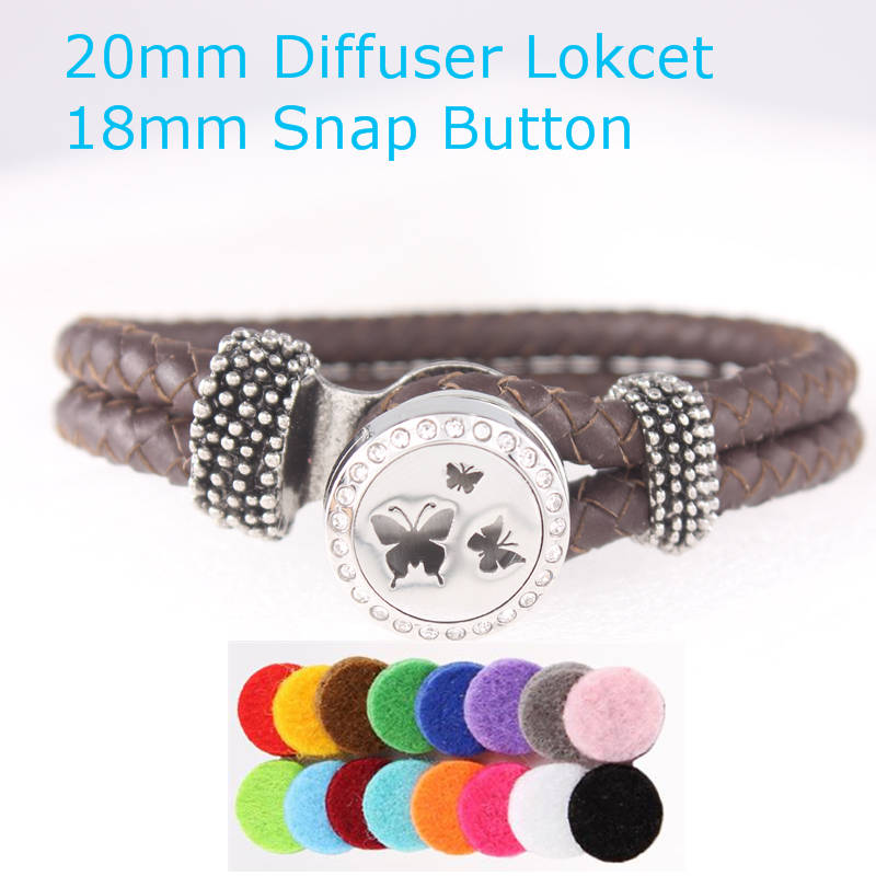 Stainless Steel Butterfly Perfume Locket 20mm Aromatherapy Essential Oil Snap Button Diffuser Locket With Snap Leather Bracelet