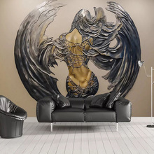 купить large 3D Embossed wallpaper mural TV background wall canvas wallpaper Livingroom bedroom Wing female wall covering customize дешево