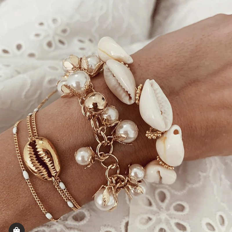 Fashion Cowrie Shell Jewelry Bracelets For Women Pearl Delicate Gold Color Easy Casing Finding Handmade Bracelet wholesale 2019