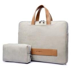 Couro do plutônio bolsa para portátil caso para macbook ar 13 saco à prova dwaterproof água para portátil 13.3 14 15.6 polegada para macbook pro caso notebook saco homem