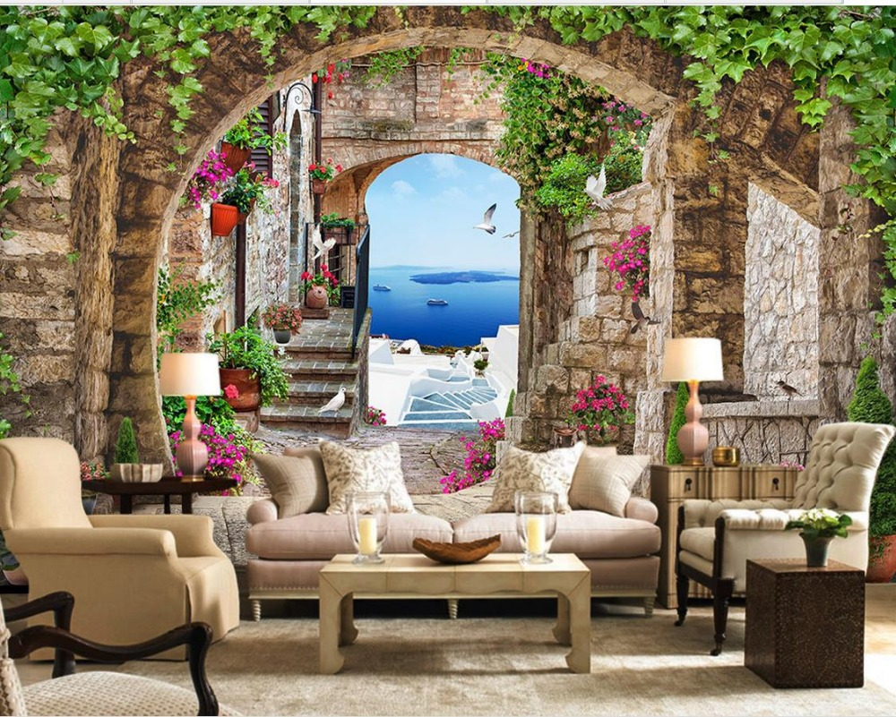 Modern Living Room Murals wallpaper 3d stereoscopic continental leafy arches 3d wallpaper